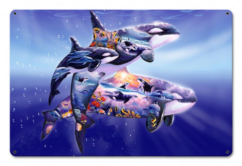 Orca Kingdom Metal Sign 18 x 12 Inches