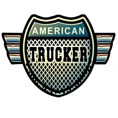 American Trucker Shield Metal Sign 15 x 18 Inches