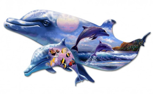 Dolphin Kingdom  Metal Sign 24 x 15 Inches
