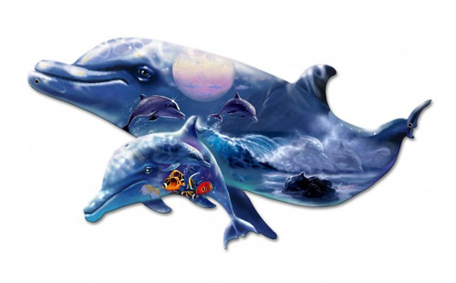 Dolphin Puzzle  Metal Sign 24 x 15 Inches