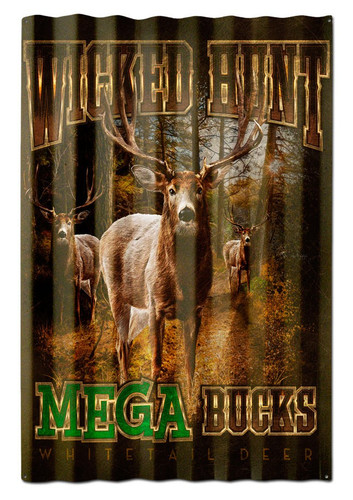 Deers Mega Bucks Corrugated Metal Sign 16 x 24 Inches