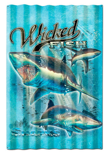 Sharks Wicked Fish Corrugated Metal Sign 16 x 24 Inches