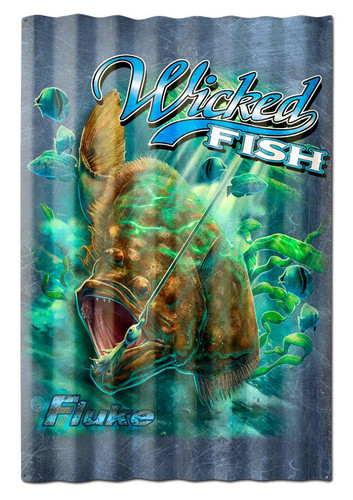 Fluke Wicked Fish Corrugated Metal Sign 16 x 24 Inches