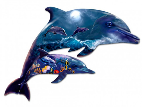 Dolphins Metal Sign 26 x 18 Inches