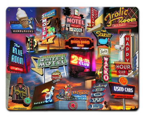 Neon Sign Collage Metal Sign 30 x 24 Inches