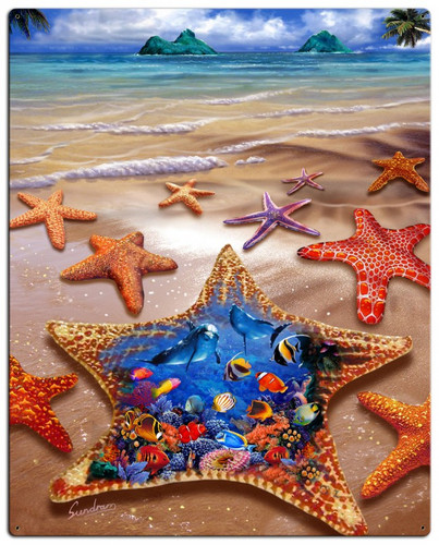 Starfish Shore Metal Sign 24 x 30 Inches