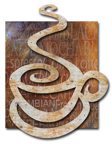 3-D Layered Coffee Cup Metal Sign 48 x 35 Inches
