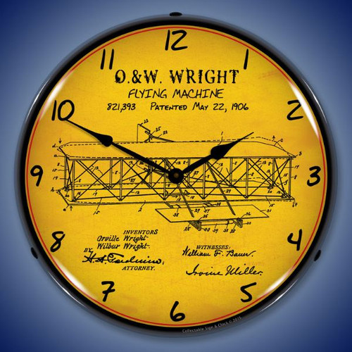 1906 Wright Flyer Patent Lighted Wall Clock 14 x 14 Inches