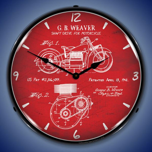 1941 Indian Motorcycle Patent Lighted Wall Clock 14 x 14 Inches