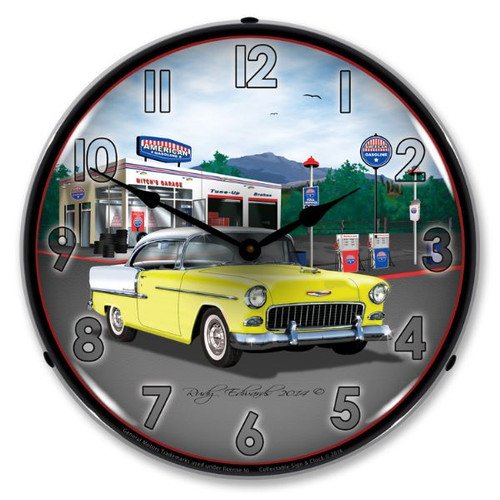 1955 Bel Air Mitch's Garage Lighted Wall Clock 14 x 14 Inches