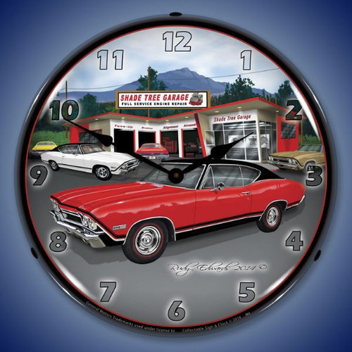 1968 SS Chevelle Lighted Wall Clock 14 x 14 Inches