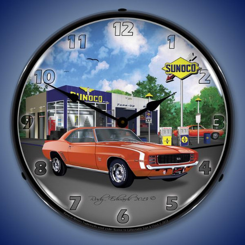 1969 RS SS Camaro Sunoco Lighted Wall Clock 14 x 14 Inches