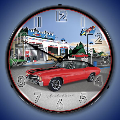 1971 SS Chevelle Lighted Wall Clock 14 x 14 Inches