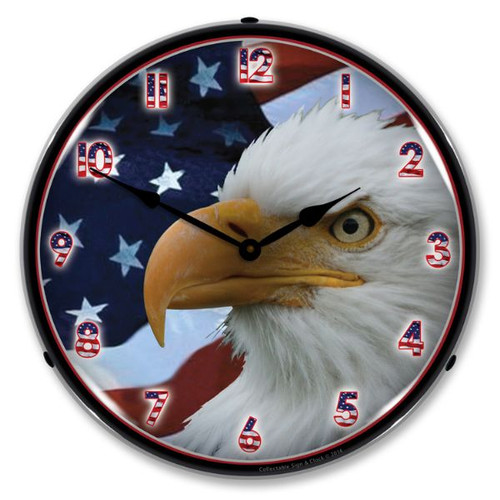 American Bald Eagle Lighted Wall Clock 14 x 14 Inches