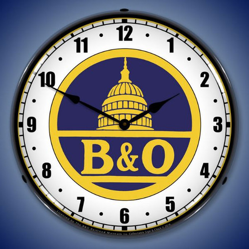 B&O Railroad 1 Lighted Wall Clock 14 x 14 Inches