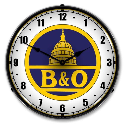 B&O Railroad 1 Lighted Wall Clock 14 x 14 Inches
