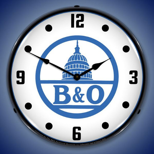 B&O Railroad 2 Lighted Wall Clock 14 x 14 Inches