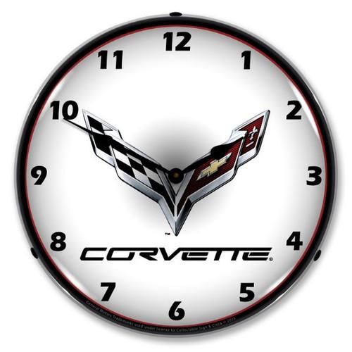 C7 Corvette Logo Lighted Wall Clock