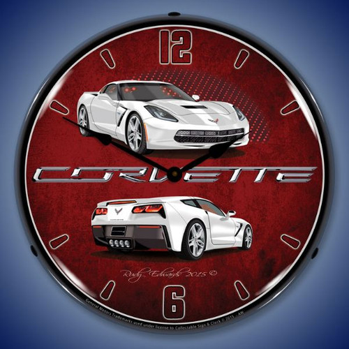 C7 Corvette Artic White Lighted Wall Clock 14 x 14 Inches