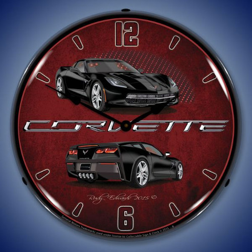 C7 Corvette Black Lighted Wall Clock 14 x 14 Inches