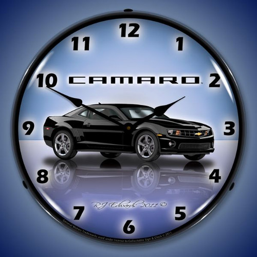 Camaro G5 Black Lighted Wall Clock 14 x 14 Inches