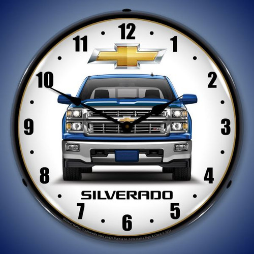 Chevrolet Silverado Blue Lighted Wall Clock 14 x 14 Inches