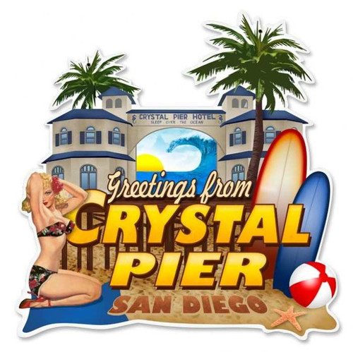 Retro Crystal Pier Custom Shape  - Pin-Up Girl Metal Sign 16 x 16 Inches