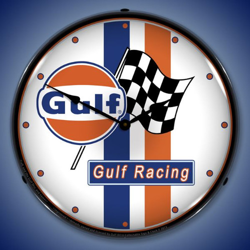 Gulf Racing Lighted Wall Clock 14 x 14 Inches