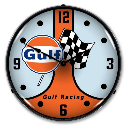 Gulf Racing GT40 Lighted Wall Clock 14 x 14 Inches
