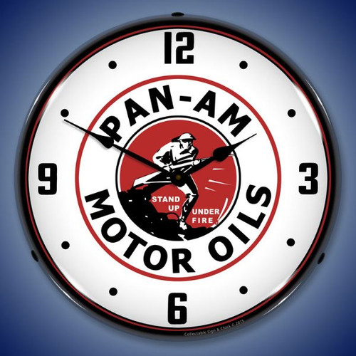 Pan Am Motor Oils Lighted Wall Clock 14 x 14 Inches
