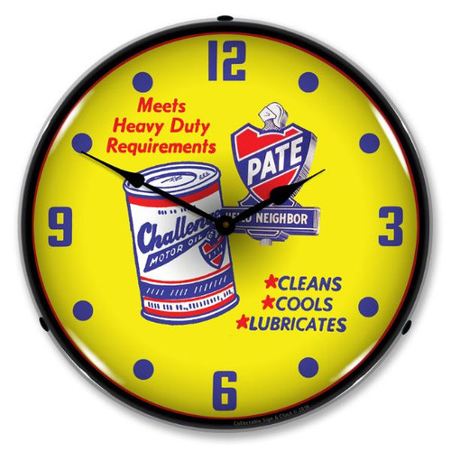 Pate Motor Oil Lighted Wall Clock 14 x 14 Inches