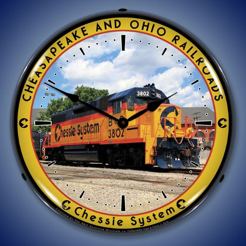 Chessie Railroad 3802 Lighted Wall Clock 14 x 14 Inches