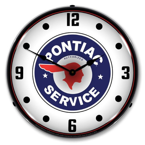 Pontiac Service Lighted Wall Clock 14 x 14 Inches