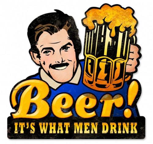 Retro Men Drink Beer Custom Shape Metal Sign 16 x 16 Inches