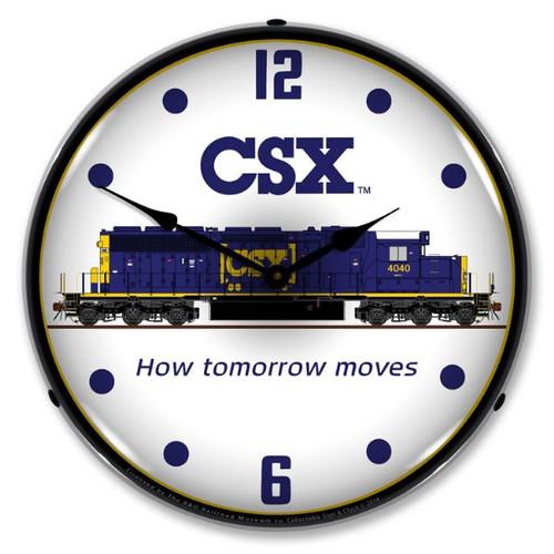 CSX Railroad Lighted Wall Clock 14 x 14 Inches