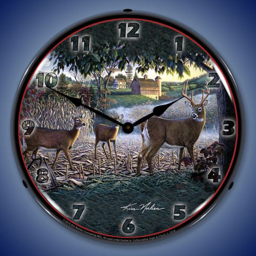 Field of Dreams Deer Lighted Wall Clock 14 x 14 Inches