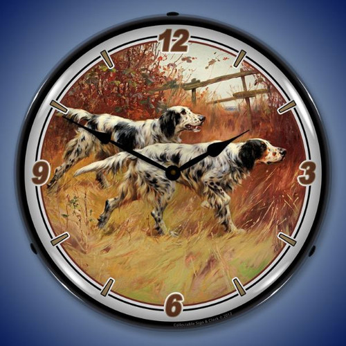 English Setters Lighted Wall Clock 14 x 14 Inches