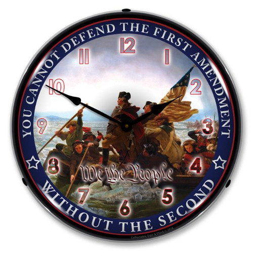 First and Second Amendment Lighted Wall Clock 14 x 14 Inches
