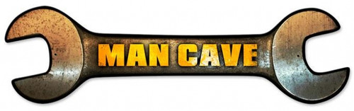 Retro Man Cave Wrench Custom Shape Metal Sign 24 x 7 Inches