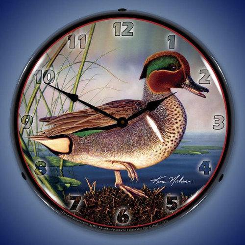 Green Wing Teal Duck Lighted Wall Clock 14 x 14 Inches