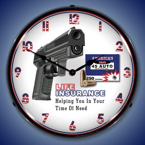 Gun Insurance Lighted Wall Clock 14 x 14 Inches