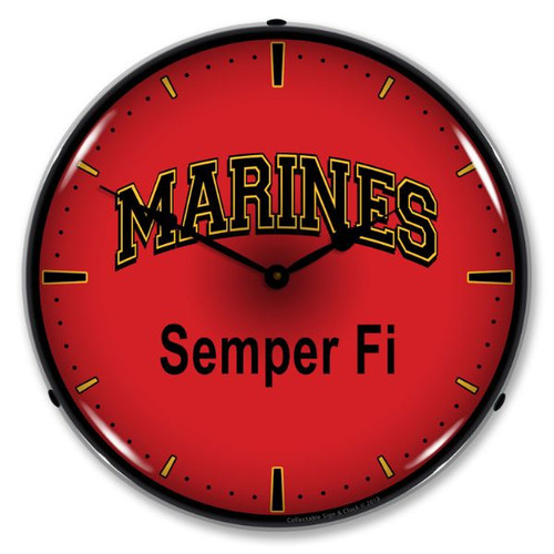 Marines Semper Fi Lighted Wall Clock 14 x 14 Inches
