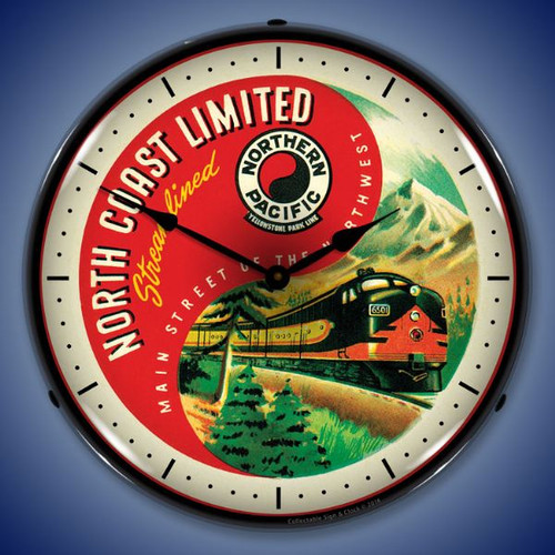 Northern Pacific Lighted Wall Clock 14 x 14 Inches