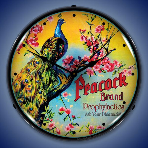 Peacock Lighted Wall Clock 14 x 14 Inches