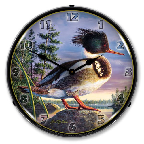 Red Breasted Mergan Lighted Wall Clock 14 x 14 Inches
