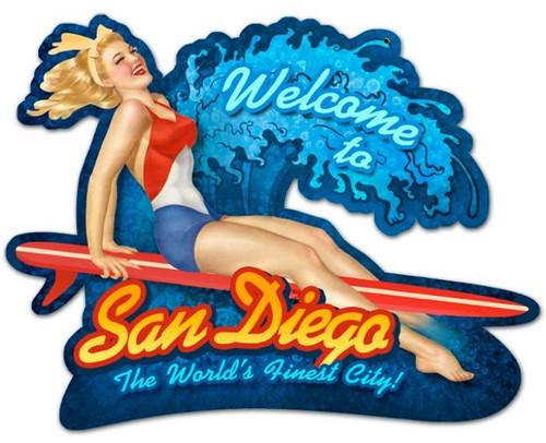 Retro San Diego Surf Girl Custom Shape  - Pin-Up Girl Metal Sign 16 x 13 Inches