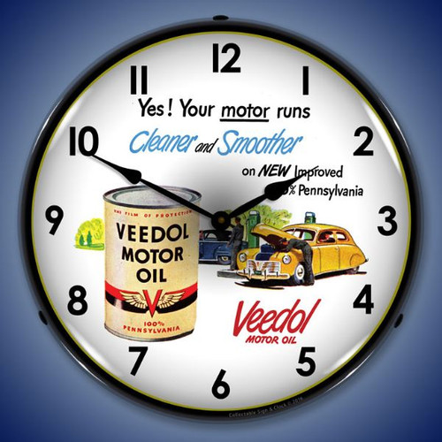 Veedol Motor Oil Lighted Wall Clock 14 x 14 Inches
