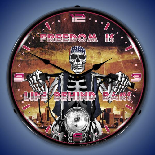 Life Behind Bars Lighted Wall Clock 14 x 14 Inches