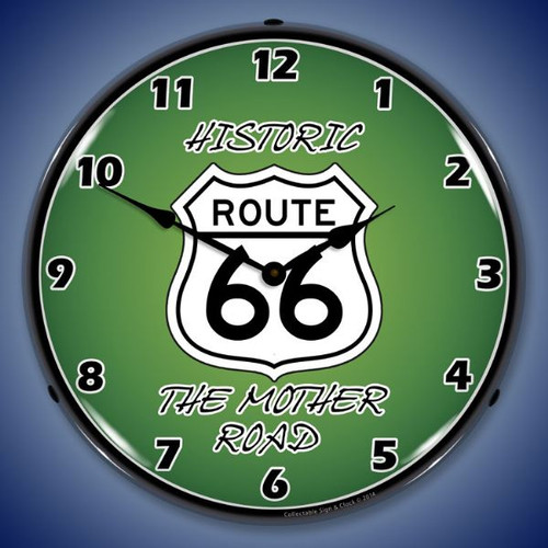 Route 66 The Mother Road Lighted Wall Clock 14 x 14 Inches
