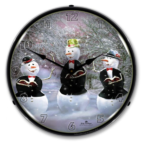 Snowman Caroling Lighted Wall Clock 14 x 14 Inches